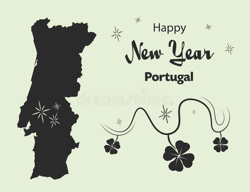 Happy New Year theme with map of Portugal. Happy New Year illustration theme with map of Portugal vector illustration