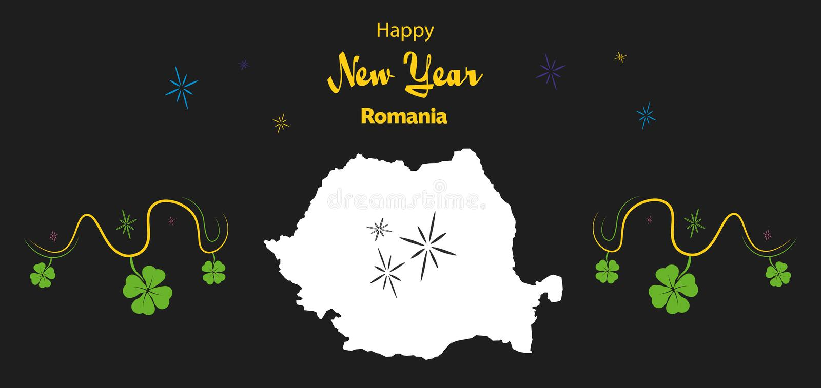 Happy New Year theme with map of Romania vector illustration
