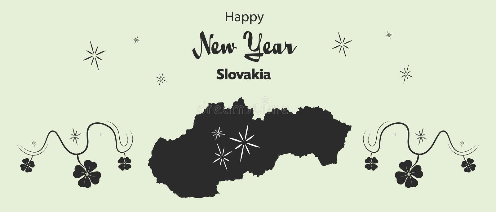 Happy New Year theme with map of Slovakia stock illustration