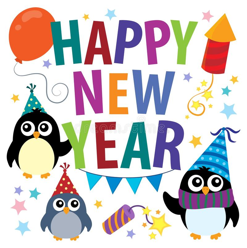 Happy New Year theme with penguins stock illustration