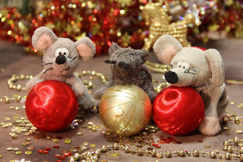 Happy New Year 2020! Three gray rats with red and gold balls. on a gold background. Merry Christmas. royalty free stock photo