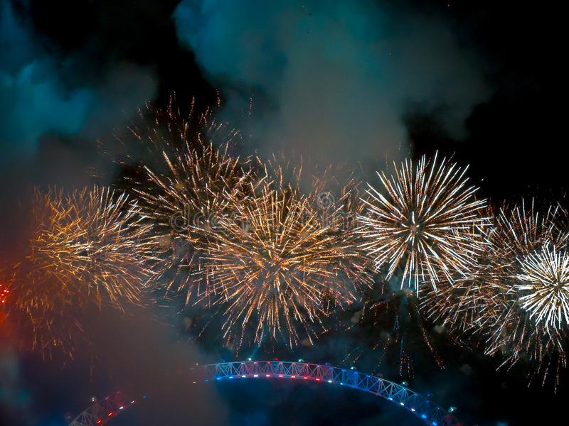 Happy New year 2019. Titanium Fireworks Put on the anual fireworks display on New Year, big, ben, barbican, centre, canary, wharf, capital, cities, cromwell royalty free stock photography