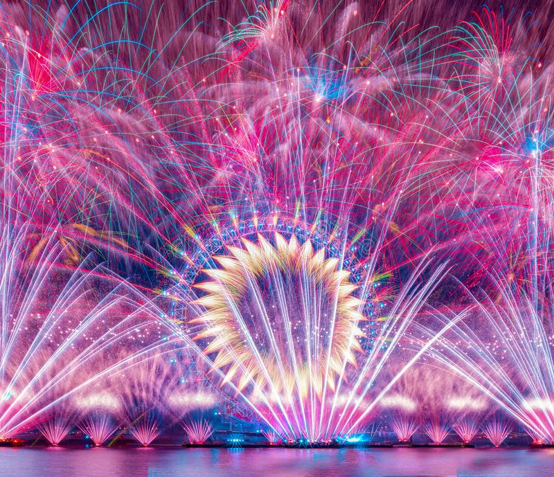 Happy New year 2019. Titanium Fireworks Put on the anual fireworks display on New Year, 2018, 2019, big, ben, barbican, centre, canary, wharf, capital, cities stock photo