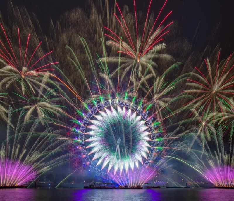 Happy New year 2019. Titanium Fireworks Put on the anual fireworks display on New Year, 2018, 2019, big, ben, barbican, centre, canary, wharf, capital, cities stock image