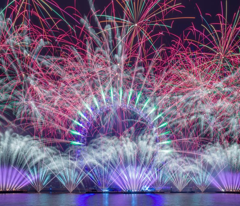 Happy New year 2019. Titanium Fireworks Put on the anual fireworks display on New Year, 2018, 2019, big, ben, barbican, centre, canary, wharf, capital, cities royalty free stock images
