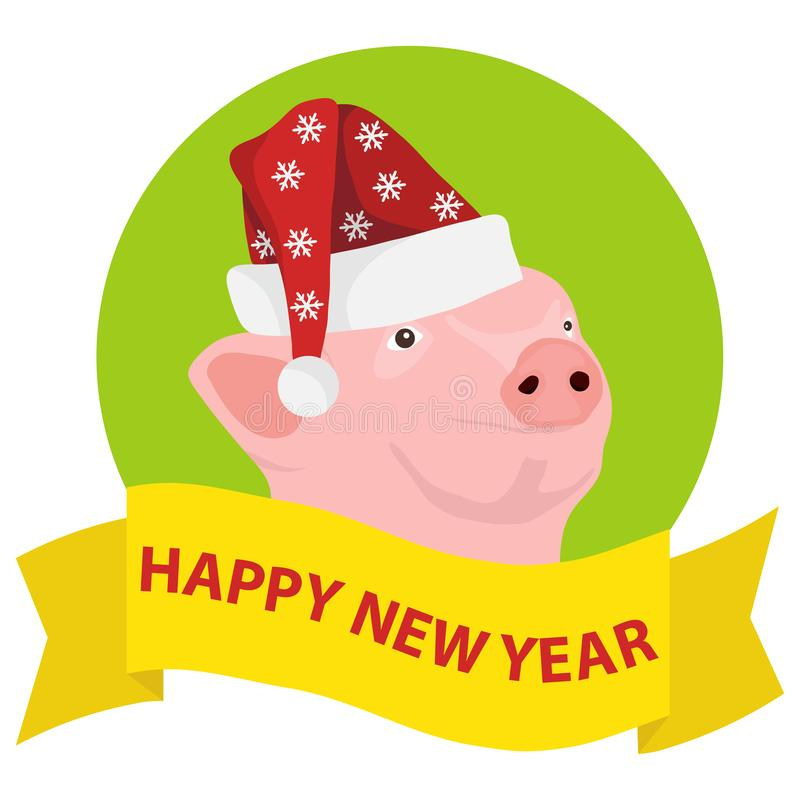 Happy New Year to the pig. Banner happy new year with pig face and Santa Claus hat. royalty free illustration