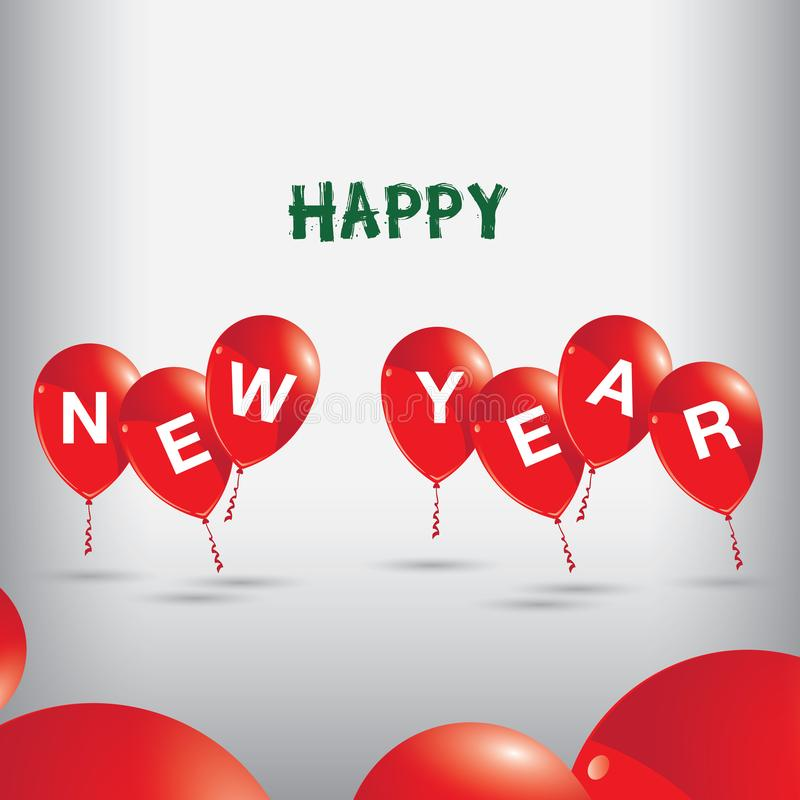 Happy New Year to red balloons on Grey background. stock illustration