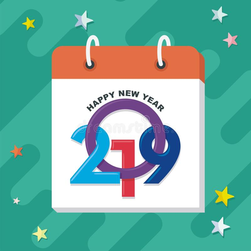 Happy new year 2019 with trendy design vector illustration