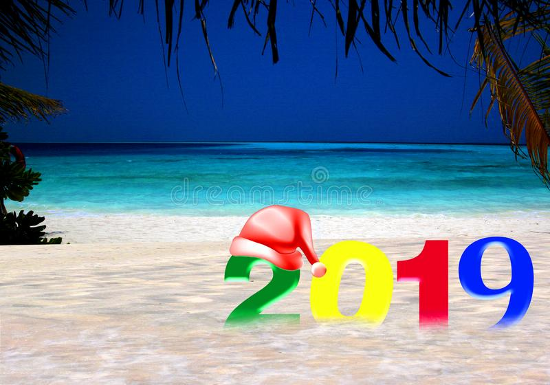 Happy New Year 2019 on a tropical island stock image
