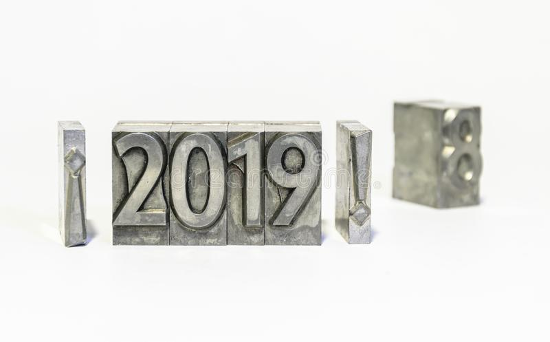 Happy new year 2019 with types of press. Goodbye 2018 royalty free stock image