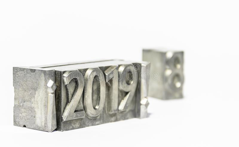 Happy new year 2019 with types of press isolated royalty free stock photography