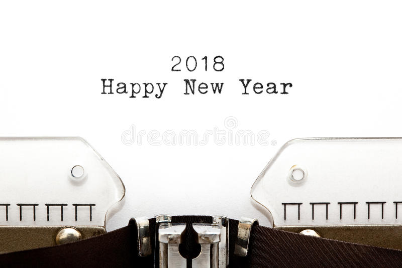 Happy New Year 2018 On Typewriter. Happy New Year 2018 printed on retro typewriter royalty free stock image