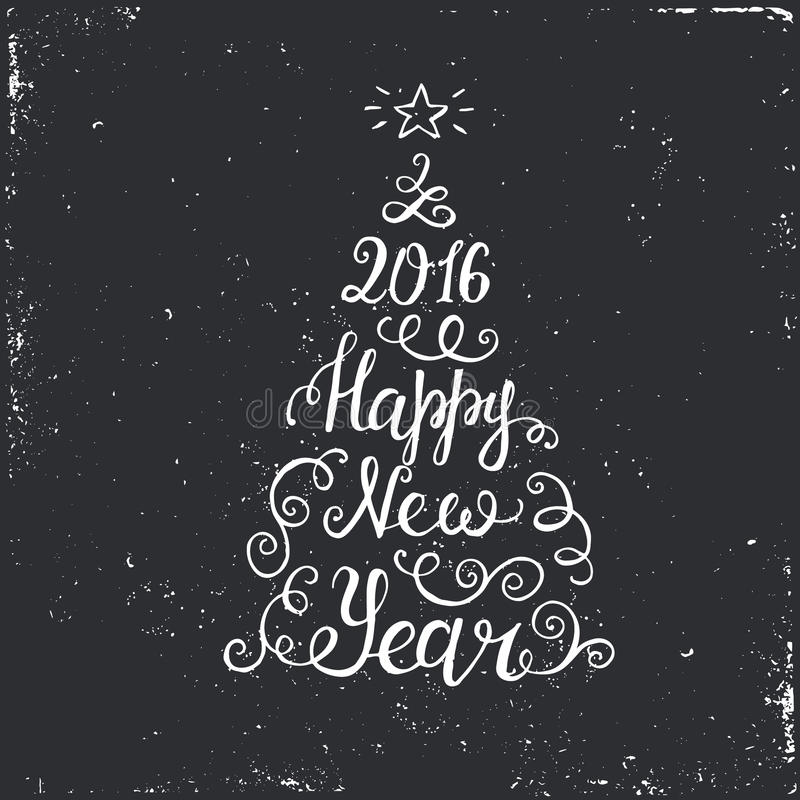 Happy New Year 2016 Typographical Background. With Christmas tree stock illustration