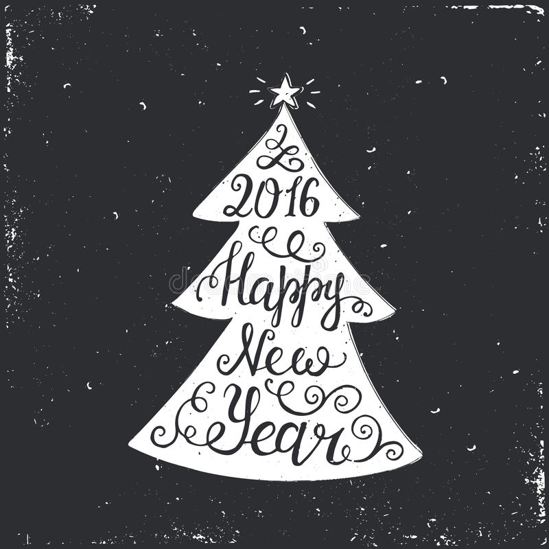Happy New Year 2016 Typographical Background. With Christmas tree royalty free illustration
