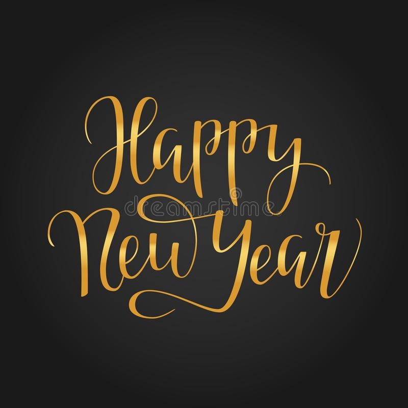 Happy new year 2018 typography on black background stock images