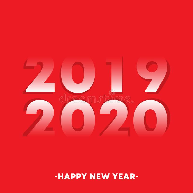 Happy New Year 2019 - 2020 typography design for holiday flyer, greeting, invitation card, flyer, poster, brochure cover vector illustration