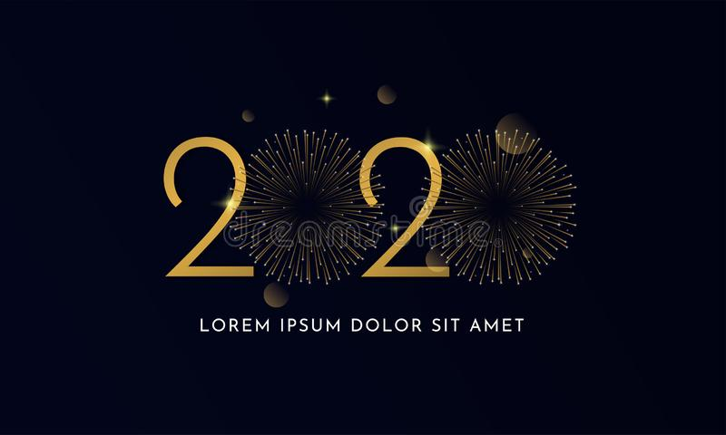 Happy new year 2020 typography text celebration poster design. glowing golden number with double gold fireworks explosion element vector illustration