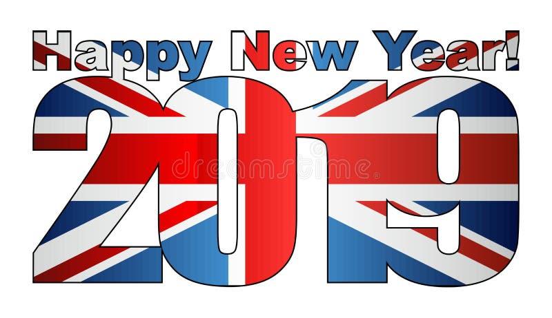 Happy New Year 2019 with United Kingdom flag inside royalty free illustration