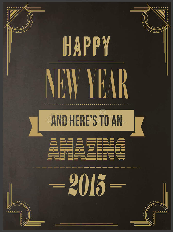 Happy new year vector in art deco style stock illustration