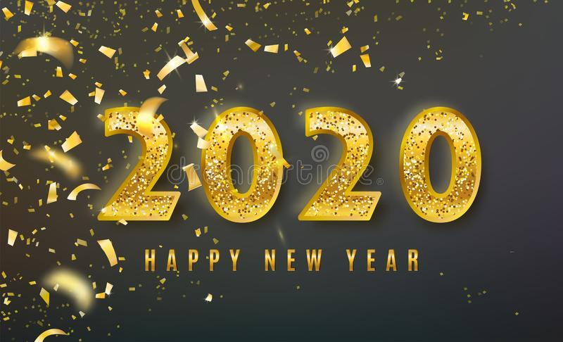 2020 Happy New Year vector background with big golden glitter numbers, shiny confetti. Christmas celebrate design royalty free illustration