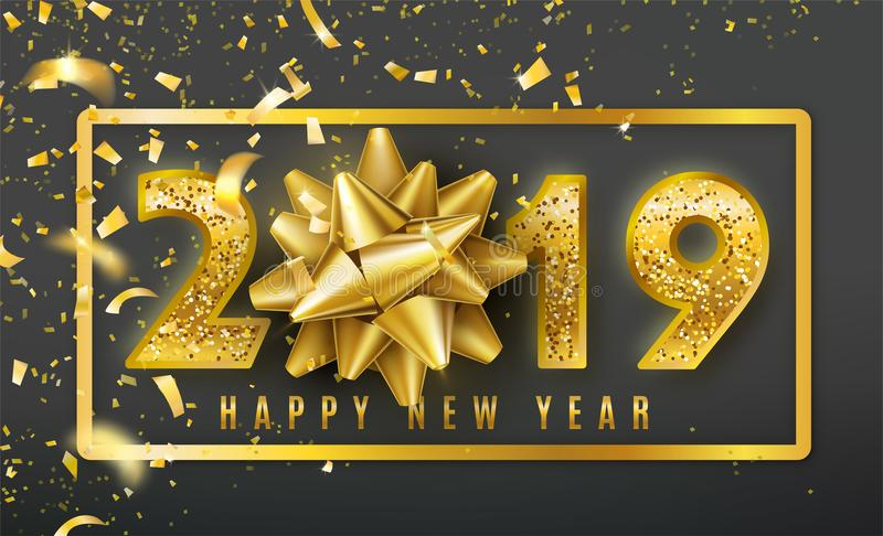 2019 Happy New Year vector background with golden gift bow, confetti, shiny glitter gold numbers and border. Christmas stock illustration