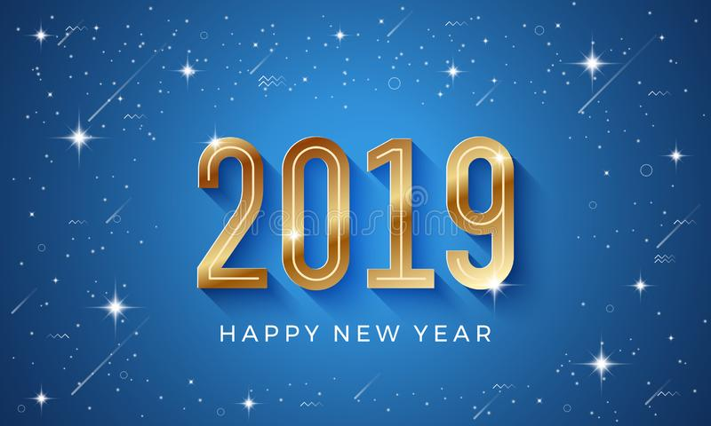 Happy new year 2019 vector background with shining star and golden number in blue background vector illustration