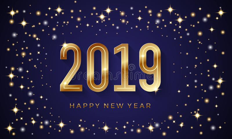 Happy new year 2019 vector background with shining star and golden number royalty free illustration