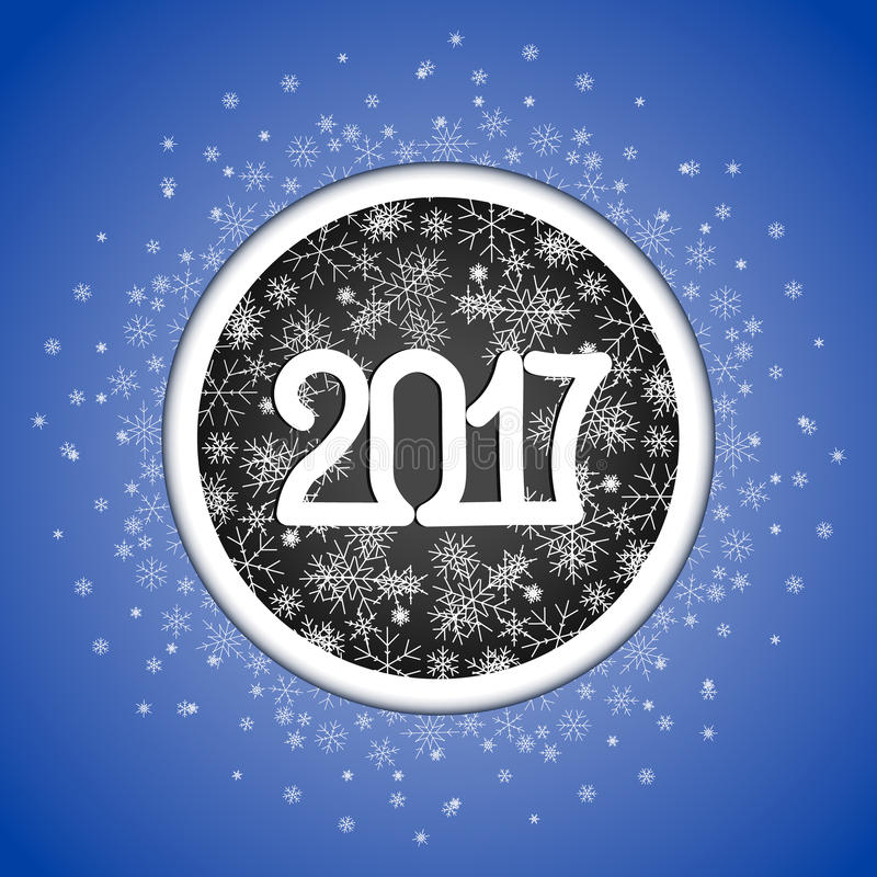 Happy New Year 2017 vector background with snowflakes. stock photos