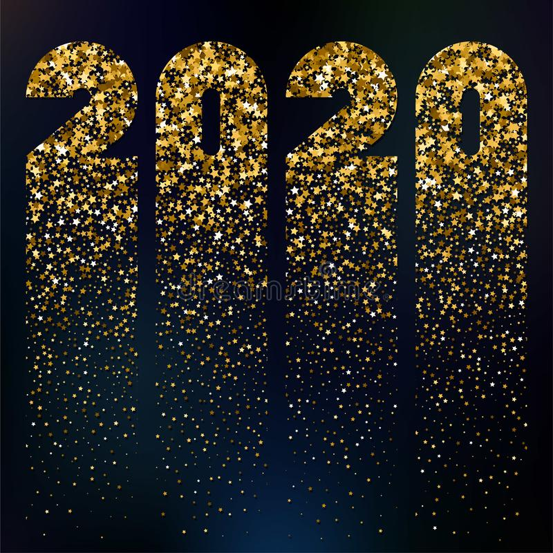 Happy 2020 New Year, vector card with glitter stock illustration
