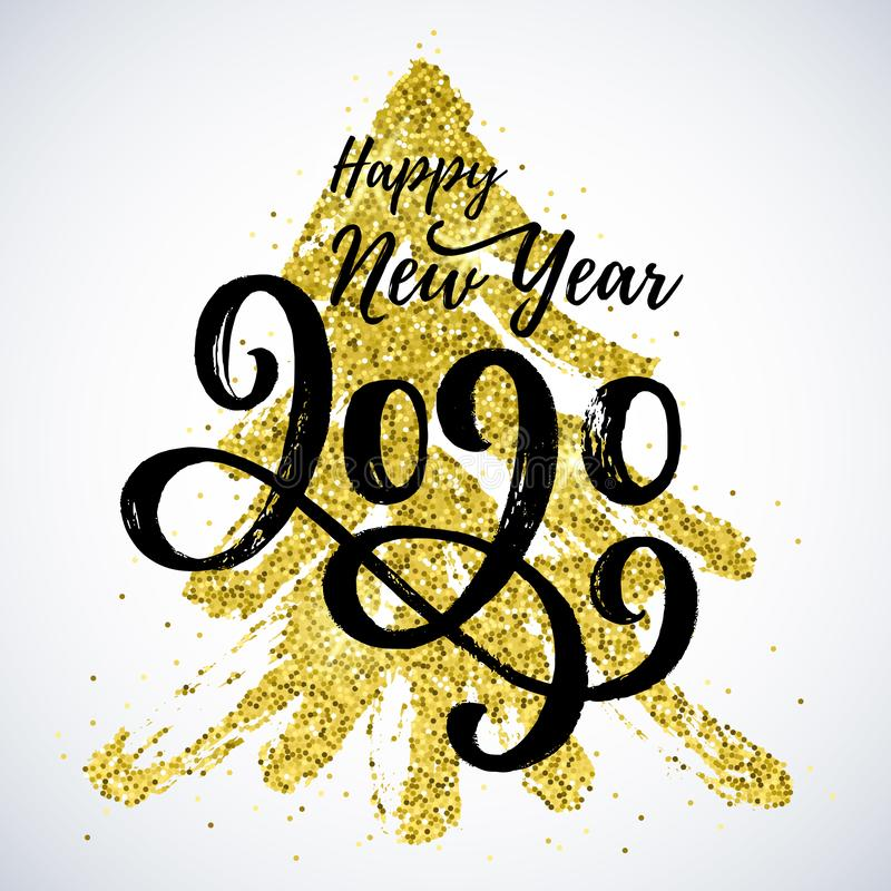 Happy New Year 2020 vector card with hand written lettering. stock illustration