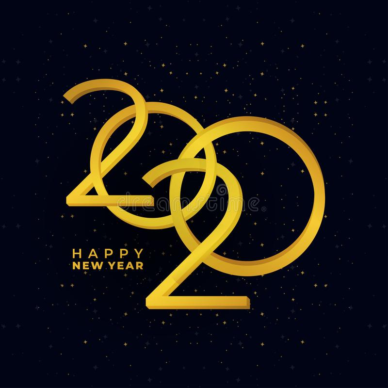 Happy New Year 2020. Vector gold colors modern festive card with sparkling glitter stars. Modern holiday banner royalty free illustration
