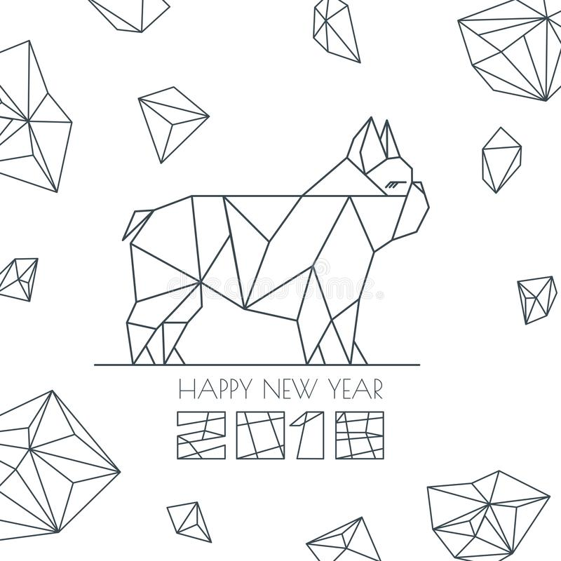 Happy New Year 2018. Vector greeting card, poster, banner with geometric outline dog modern symbol. Chinese calendar decoration. Monochrome french bulldog stock illustration