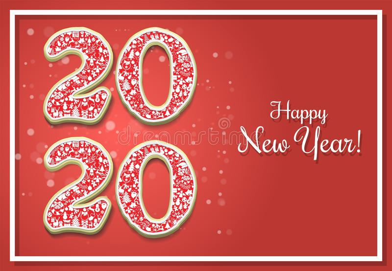 Happy New Year 2020 vector greeting card template vector illustration