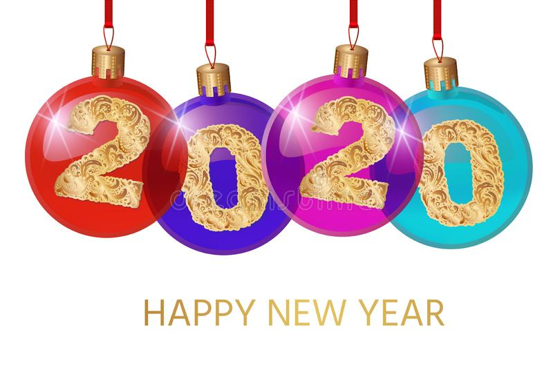 Happy New Year 2020. Vector greeting illustration with golden numbers.background decoration. Greeting card design royalty free illustration