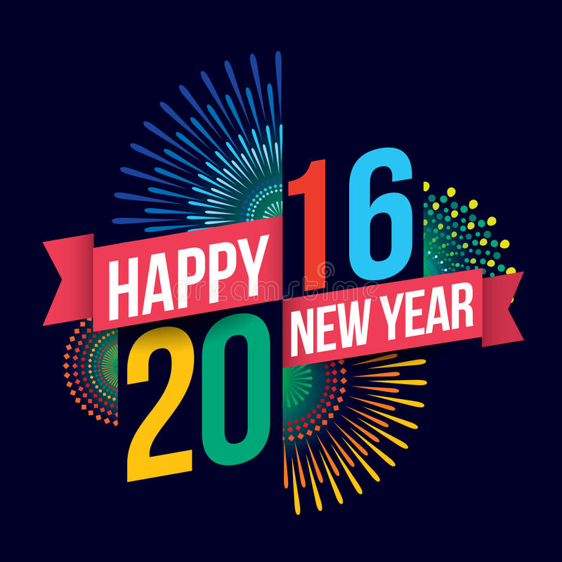 Happy new year 2016. Vector illustration of Colorful fireworks. Happy new year 2016 theme