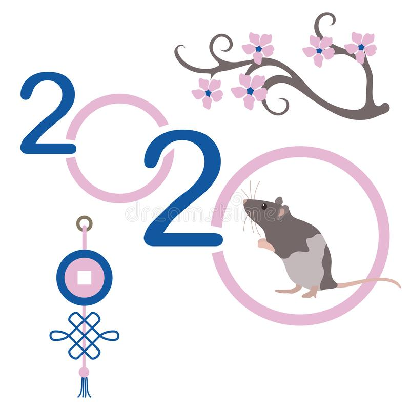 Happy new year Rat symbol of 2020 Chinese calendar. Happy new year. Vector illustration with 2020 year numbers and rat. Rat zodiac sign, symbol of 2020 on the vector illustration