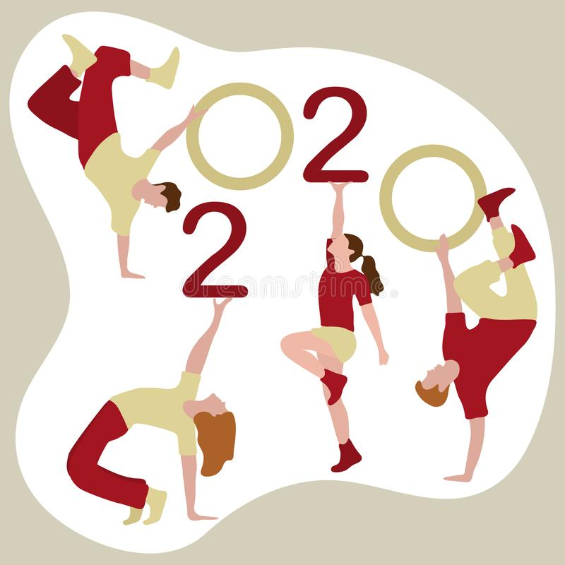Happy new year. Dancing people keep numbers 2020. Happy new year. Vector illustration with 2020 year numbers and dancing people. Street modern dance. New Year`s royalty free illustration