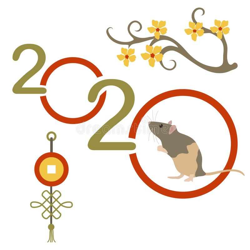 Happy new year Rat symbol of 2020 Chinese calendar. Happy new year. Vector illustration with 2020 year numbers and rat. Rat zodiac sign, symbol of 2020 on the royalty free illustration