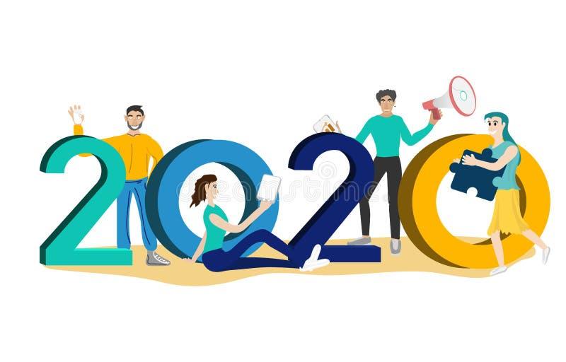 Happy new year 2020 vector royalty free stock photo