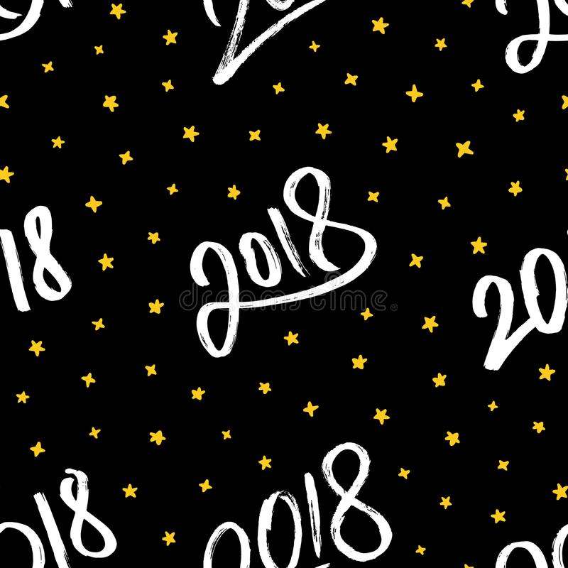 Happy New Year 2018. Vector seamless pattern stock illustration