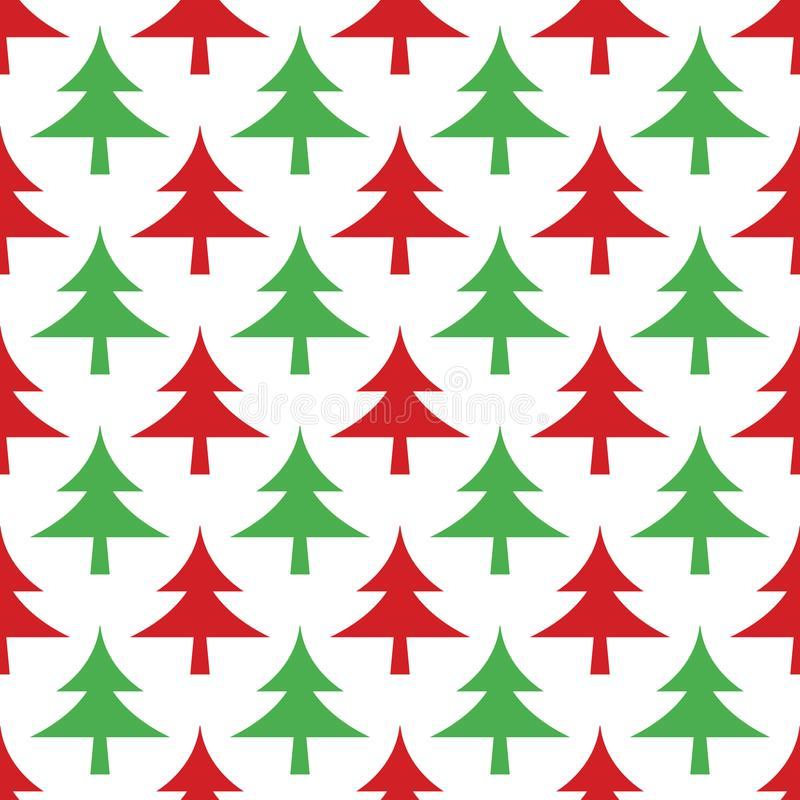 Happy New Year vector seamless pattern with Christmas tree stock illustration