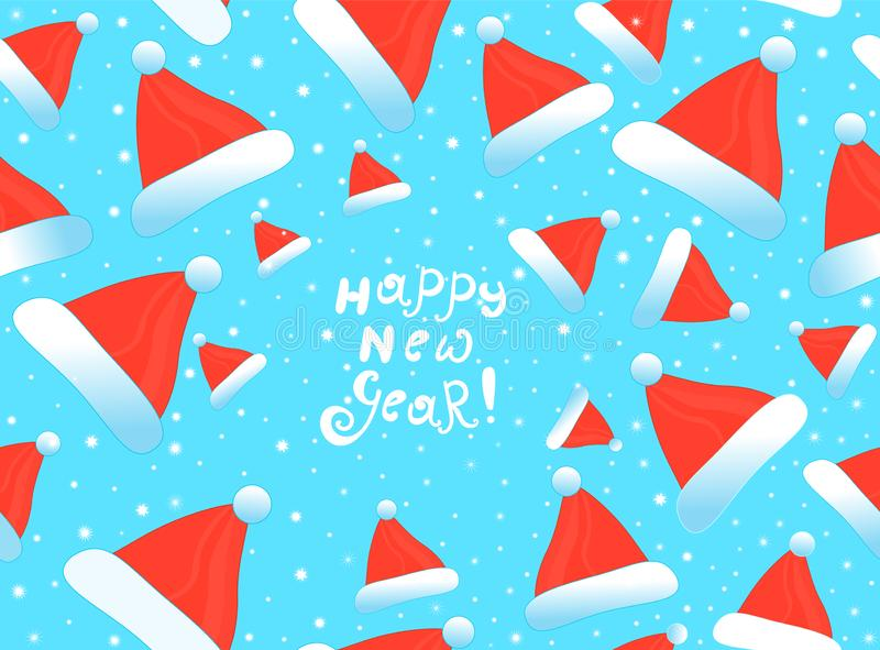 Happy New Year vector seamless pattern with Santa Clause`s hats and snowflakes. Merry Christmas endless texture stock illustration