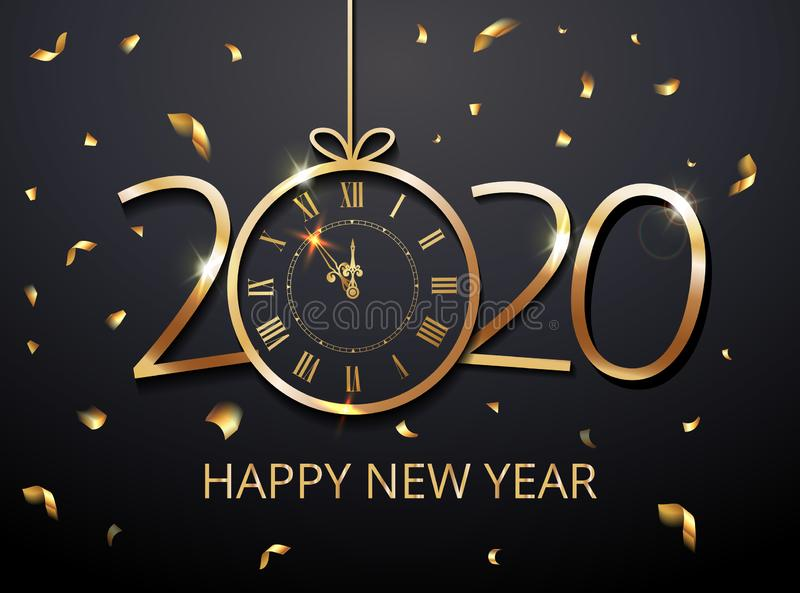 Happy New Year 2020 vector - New Year Shining background with christmas ball gold twelve o clock and glitter confetti, gold stock illustration