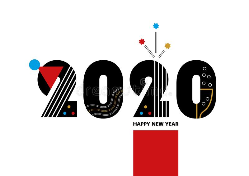 Happy New Year 2020 - vector template for a poster, banner, postcard, site or facebook cover,. Created by simple geometric figures. In the modern  style of vector illustration
