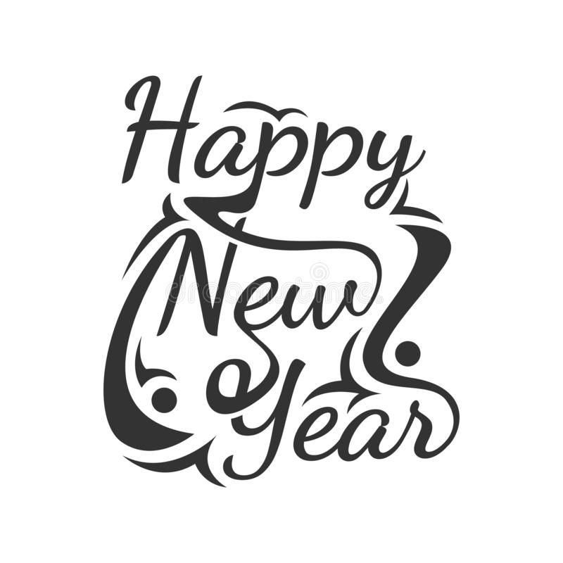 Happy new Year Vektor Wortart Text Calligraphic Letters Design Card Template stock abbildung