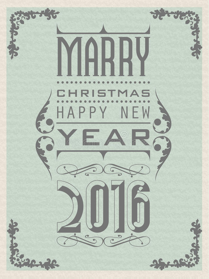 2016 Happy new year vintage retro second edition royalty free illustration