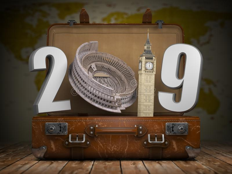 2019 Happy new year. Vintage suitcase with number 2019 as Coloisseum and Big Ben tower. Travel and tourism concept. vector illustration