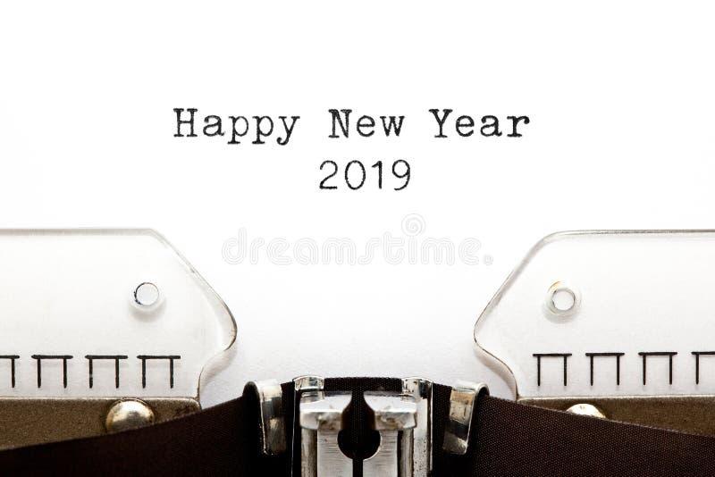 Happy New Year 2019 On Vintage Typewriter. Happy New Year 2019 typed on retro typewriter stock photos