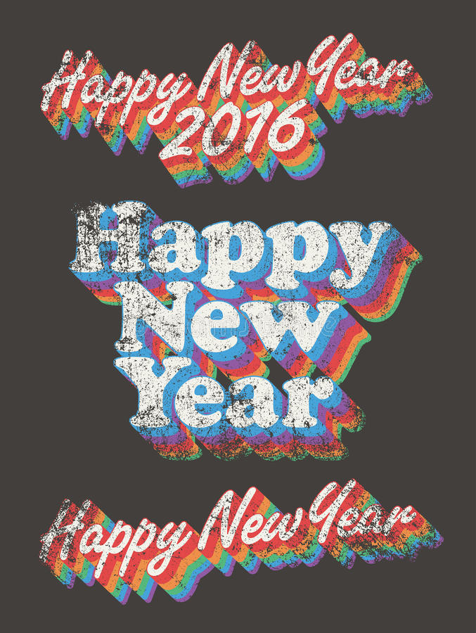 Happy New Year vintage used. Vector illustration of Happy New Year in vintage style (Between Seventies and Eighties) in the used version royalty free illustration