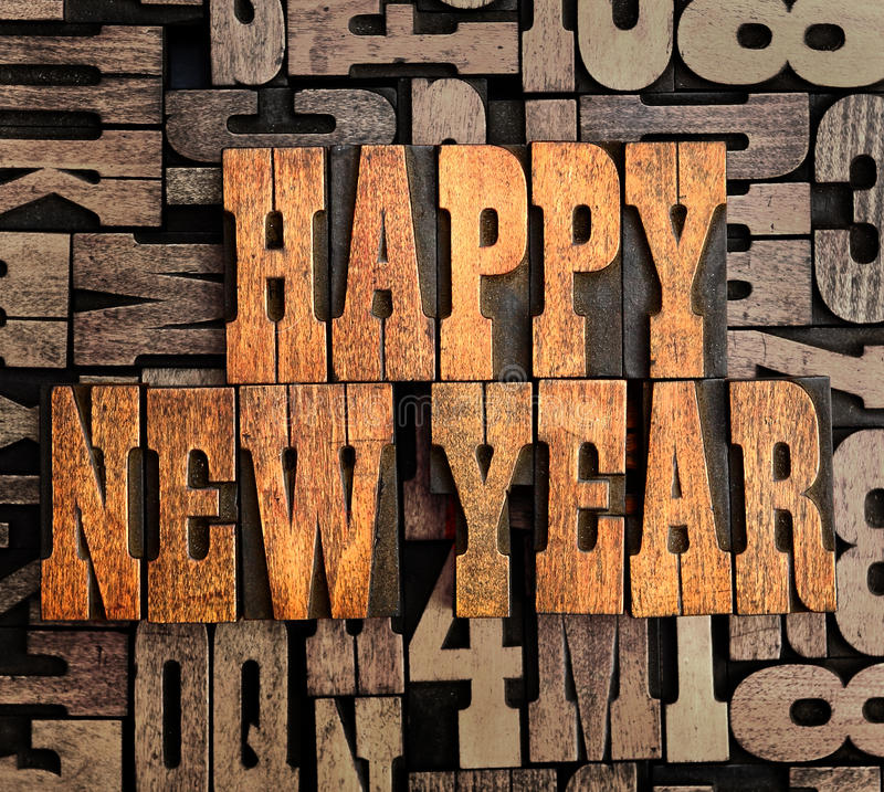 Happy New Year. Vintage wooden letterpress Happy New Year background royalty free stock photo